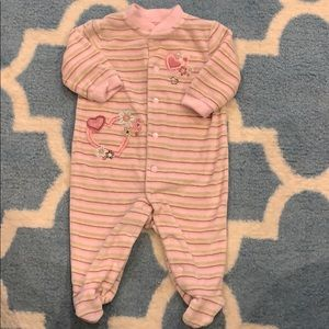 Super soft and warm baby girl footed sleeper